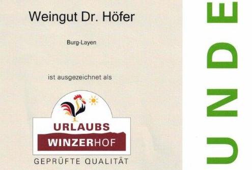 Qualitätsauszeichnung Urkunde Urlaubs Winzerhof 2015
